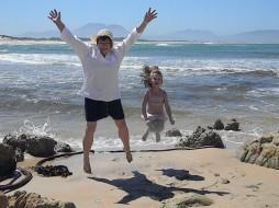 Kleinmond beach, with my granddaughter, Kiara