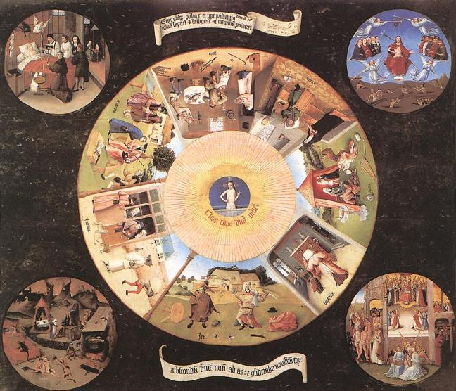 "Four small circles, detailing the four last things — ""Death of the Sinner"", ""Judgment"", ""Hell"" and ""Glory"" — surround a larger circle in which the seven deadly sins are depicted: wrath at the bottom, then (proceeding clockwise) envy, greed, gluttony, sloth, extravagance (later replaced with lust), and pride, using scenes from life rather than allegorical representations of the sins. At the centre of the large circle, which is said to represent the eye of God, is a ""pupil"" in which Christ can be seen emerging from his tomb. Below this image is the Latin inscription Cave Cave Deus Videt (""Beware, Beware, God Sees""). Above and below the central image are inscription in Latin of Deuteronomy 32:28–29, containing the lines ""For they are a nation void of counsel, neither is there any understanding in them"", above, and ""O that they were wise, that they understood this, that they would consider their latter end!"" below."